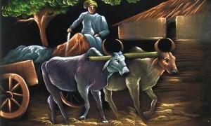 Farmer with Bull Cart