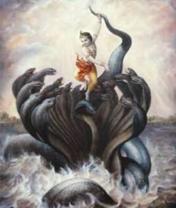 Krishna With Kaliya Naag