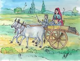 Bull Cart in Village